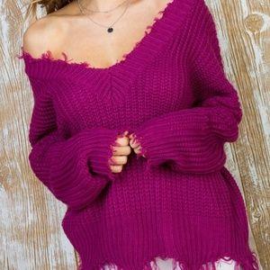 Magenta Frayed Sweater